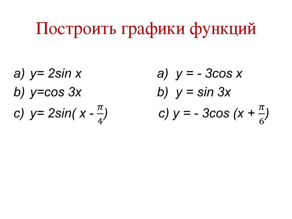 Построить графики функций