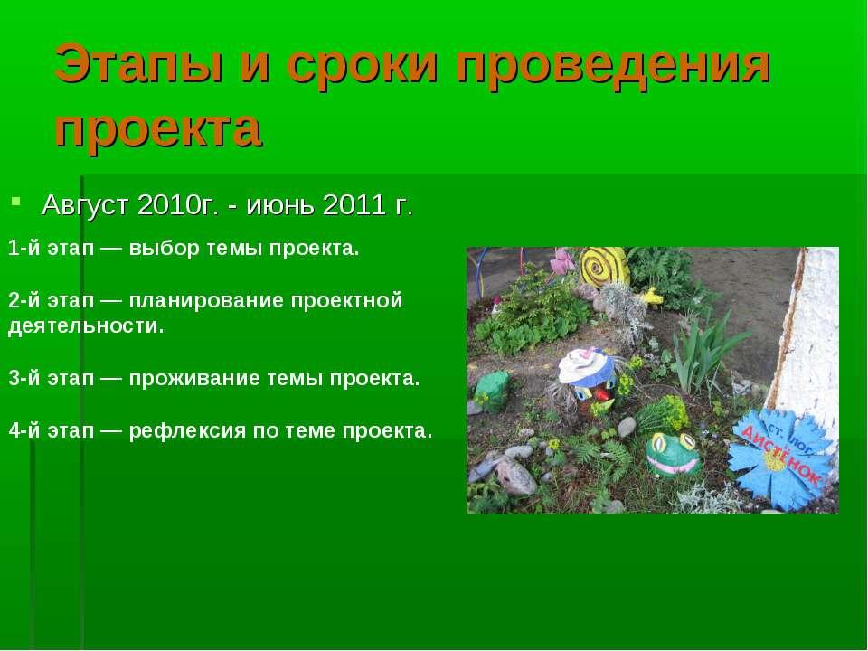 Этапы и сроки проведения проекта Август 2010г. - июнь 2011 г. 1-й этап — выбо...