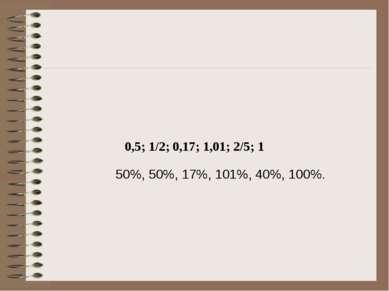 0,5; 1/2; 0,17; 1,01; 2/5; 1 50%, 50%, 17%, 101%, 40%, 100%.