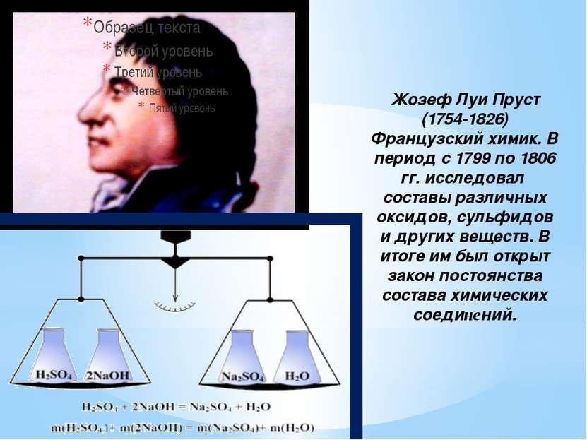 Жозеф Луи Пруст (1754-1826) Французский химик. В период с 1799 по 1806 гг. ис...