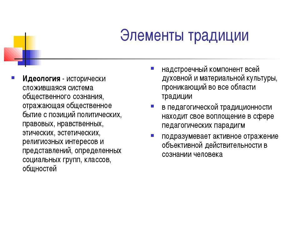 Элементы традиции Идеология - исторически сложившаяся система общественного с...