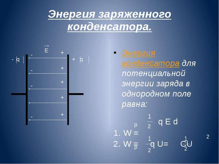 Энергия заряженного конденсатора. - + + + + + - - - - Е - q + q Энергия конде...