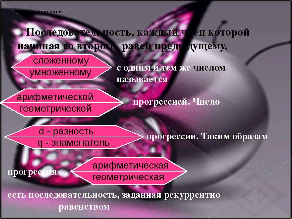 2. Определение Последовательность, каждый член которой начиная со второго, ра...