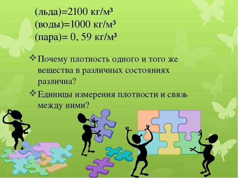 Ρ(льда)=2100 кг/м³ ρ(воды)=1000 кг/м³ ρ(пара)= 0, 59 кг/м³ Почему плотность о...