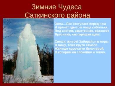 Зимние Чудеса Саткинского района Зима…Лес отступает перед нею И прячет где-то...