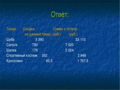 Ответ: Товар: Скидка Сумма к оплате: на данный товар: (руб.) (руб.) Шуба 5 39...