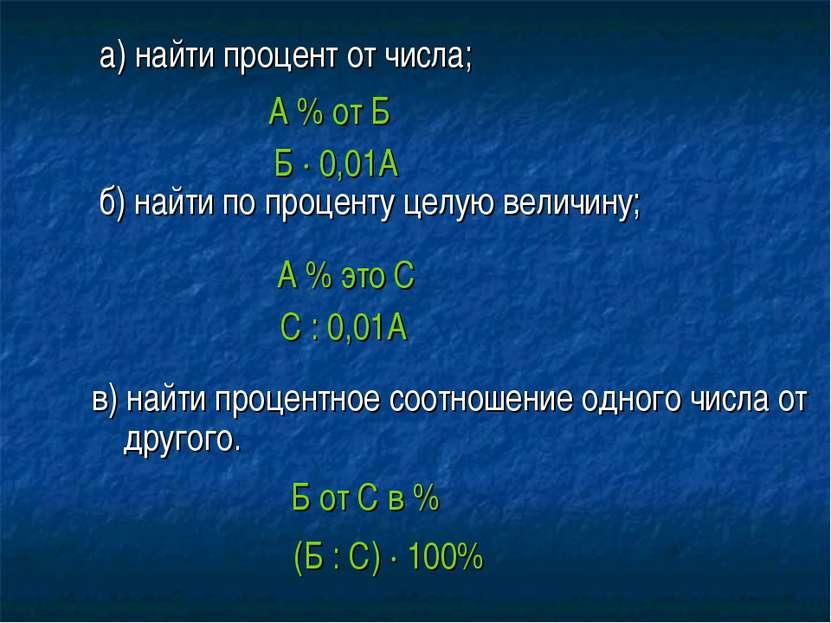 а) найти процент от числа; б) найти по проценту целую величину; в) найти проц...