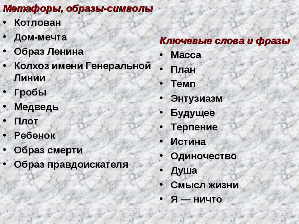 Метафоры, образы-символы Котлован Дом-мечта Образ Ленина Колхоз имени Генерал...