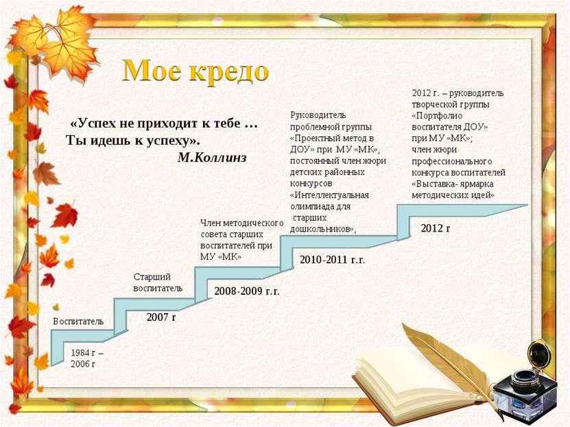 «Успех не приходит к тебе … Ты идешь к успеху». М.Коллинз 2012 г. – руководит...