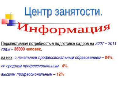 Перспективная потребность в подготовке кадров на 2007 – 2011 годы – 36000 чел...