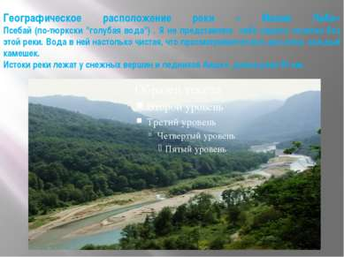 """Географическое расположение реки « Малая Лаба» Псебай (по-тюркски """"голубая во..."""