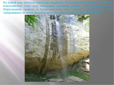 На нашей реке имеются водопады, например Капустинский водопад. По отвесной из...