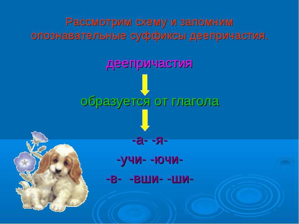 Рассмотрим схему и запомним опознавательные суффиксы деепричастия. деепричаст...