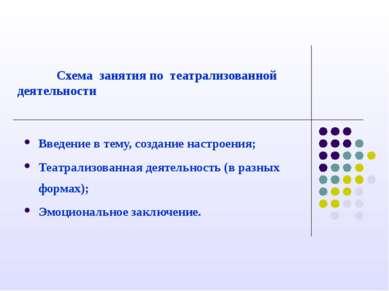 Схема занятия по театрализованной деятельности Введение в тему, создание наст...