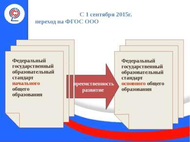 С 1 сентября 2015г. переход на ФГОС ООО емственность и развитие Федеральный г...