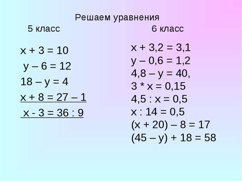 Решаем уравнения 5 класс 6 класс x + 3 = 10 y – 6 = 12 18 – y = 4 х + 8 = 27 ...