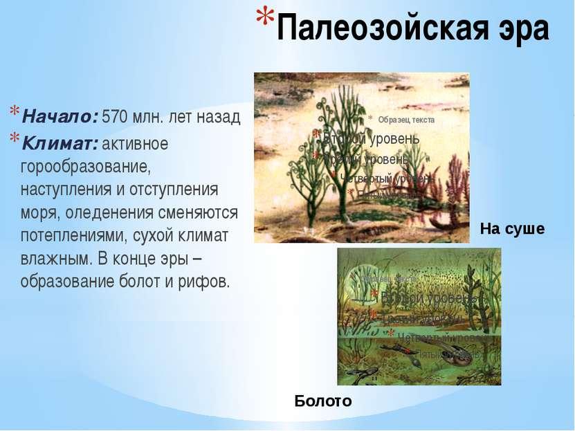 Палеозойская эра Начало: 570 млн. лет назад Климат: активное горообразование,...