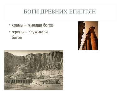 БОГИ ДРЕВНИХ ЕГИПТЯН храмы – жилища богов жрецы – служители богов