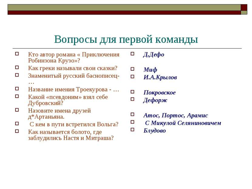Вопросы для первой команды Кто автор романа « Приключения Робинзона Крузо»? К...