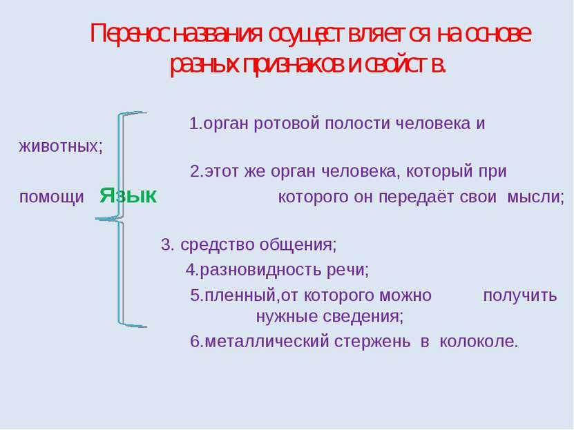 Перенос названия осуществляется на основе разных признаков и свойств. 1.орган...