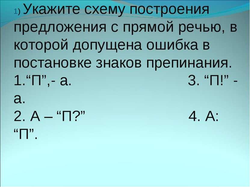 1) Укажите схему построения предложения с прямой речью, в которой допущена ош...