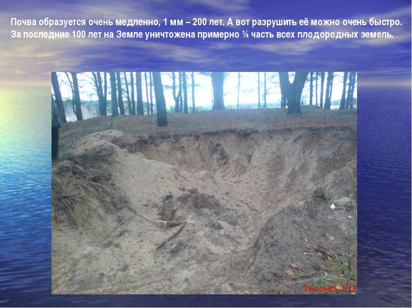Почва образуется очень медленно, 1 мм – 200 лет. А вот разрушить её можно оче...