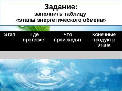 Задание: заполнить таблицу «этапы энергетического обмена» Этап Где протекает ...