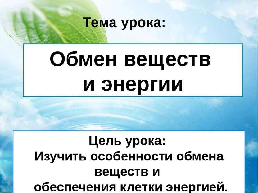 Обмен веществ и энергии Тема урока: Цель урока: Изучить особенности обмена ве...