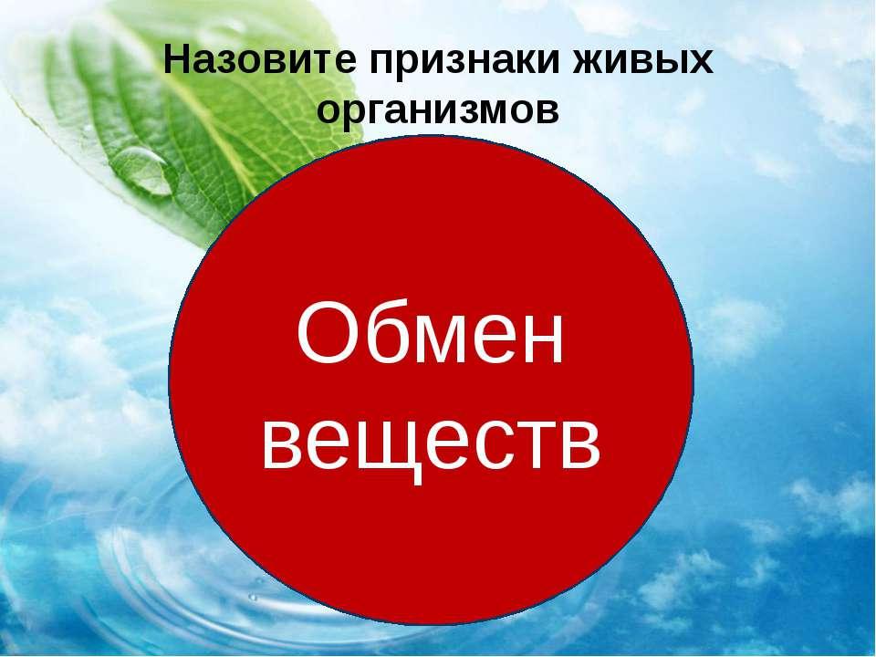 Назовите признаки живых организмов питание дыхание выделение Обмен веществ