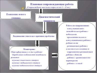 Плановая сопровождающая работа (Сопровождение школьных параллелей 1 – 11 кл.)...
