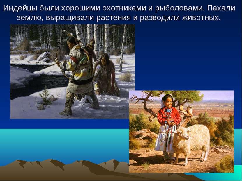 Индейцы были хорошими охотниками и рыболовами. Пахали землю, выращивали расте...