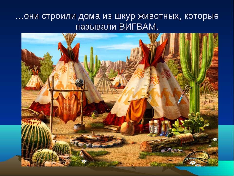 …они строили дома из шкур животных, которые называли ВИГВАМ.