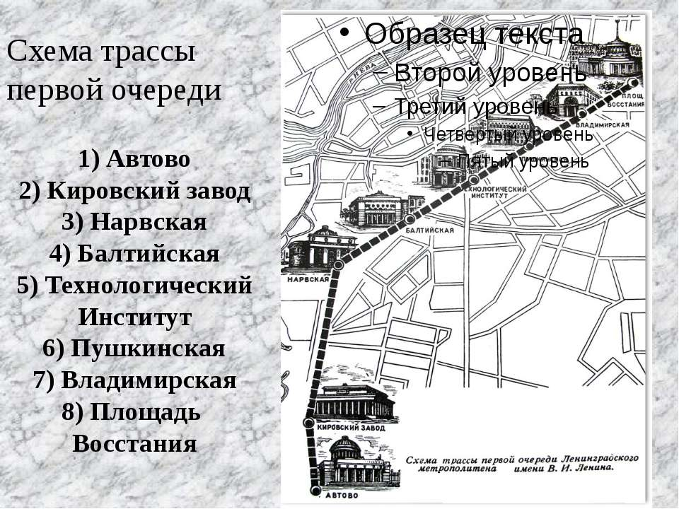 Схема трассы первой очереди 1) Автово 2) Кировский завод 3) Нарвская 4) Балти...