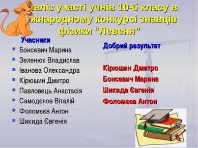"""Аналіз участі учнів 10-б класу в міжнародному конкурсі знавців фізики """"Левеня..."""