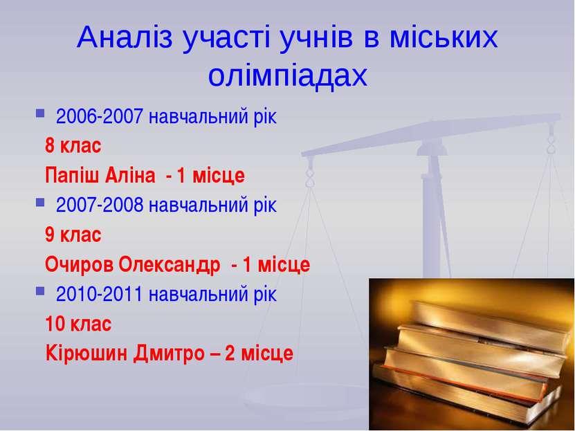 Аналіз участі учнів в міських олімпіадах 2006-2007 навчальний рік 8 клас Папі...
