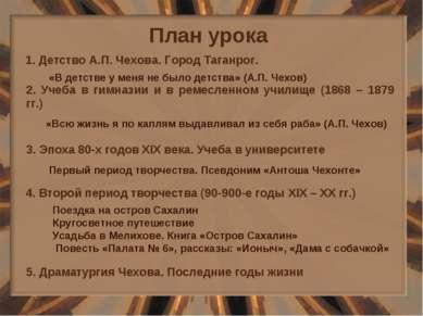 План урока 1. Детство А.П. Чехова. Город Таганрог. 2. Учеба в гимназии и в ре...
