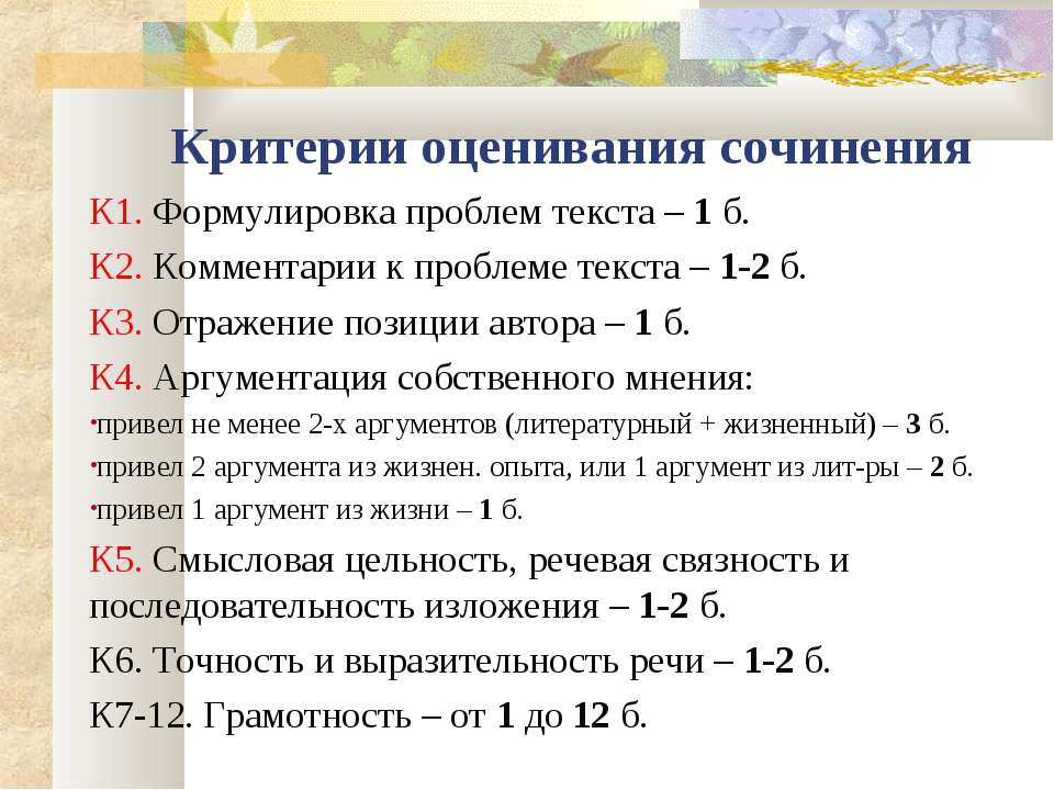 Критерии оценивания сочинения К1. Формулировка проблем текста – 1 б. К2. Комм...