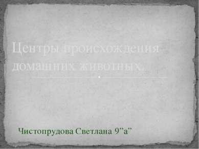 """Чистопрудова Светлана 9""""а"""" Центры происхождения домашних животных."""