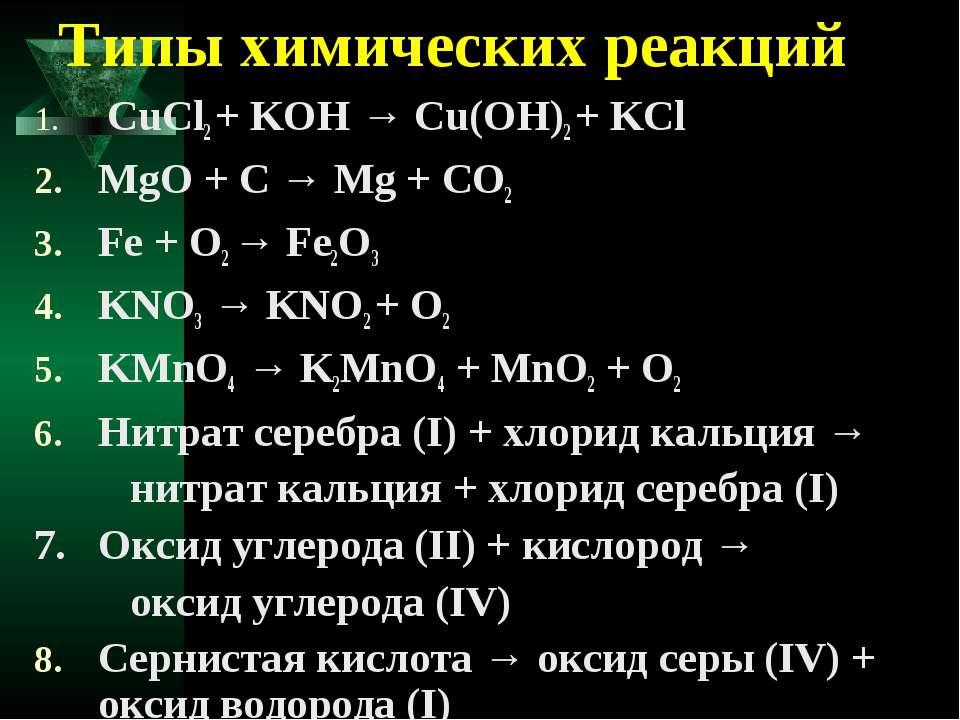 Типы химических реакций СuCl2 + KOH → Cu(OH)2 + KCl MgO + C → Mg + CO2 Fe + O...