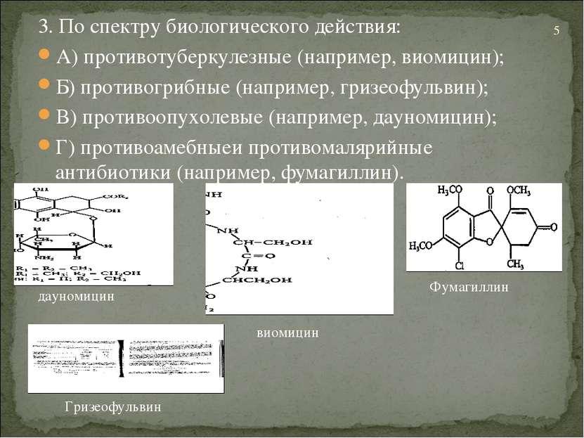 3. По спектру биологического действия: А) противотуберкулезные (например, вио...