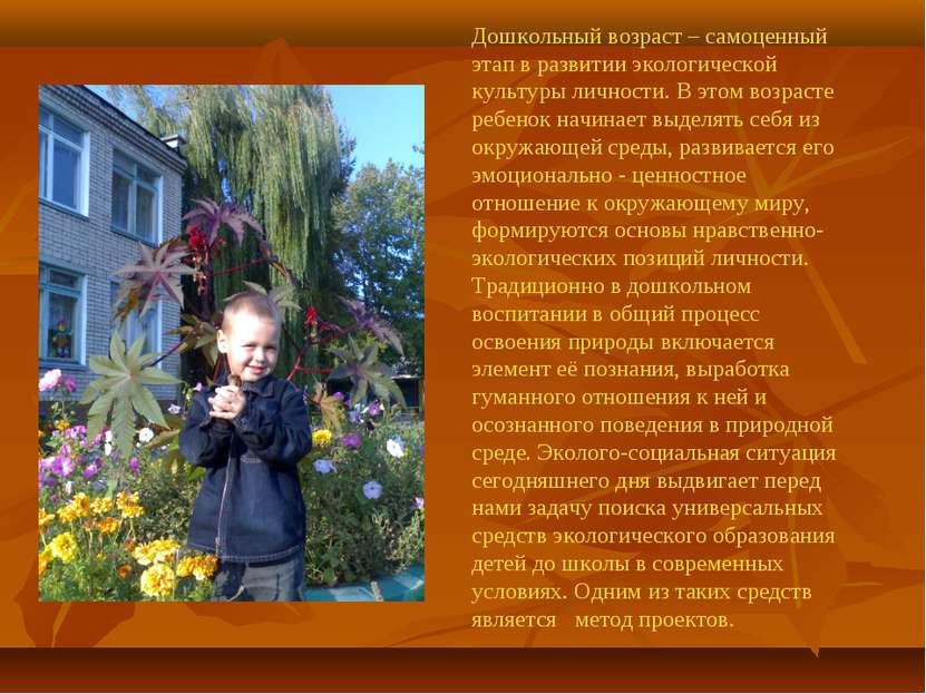 Дошкольный возраст – самоценный этап в развитии экологической культуры личнос...