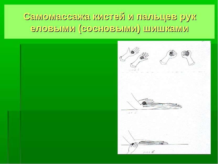 Самомассажа кистей и пальцев рук еловыми (сосновыми) шишками
