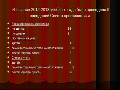 В течение 2012-2013 учебного года было проведено 9 заседаний Совета профилакт...