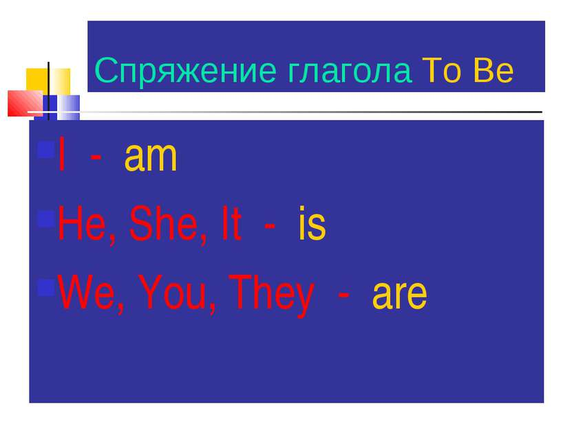 Спряжение глагола To Be I - am He, She, It - is We, You, They - are