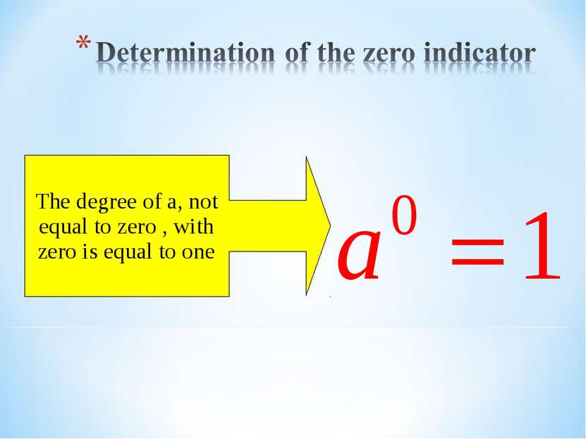 The degree of a, not equal to zero , with zero is equal to one