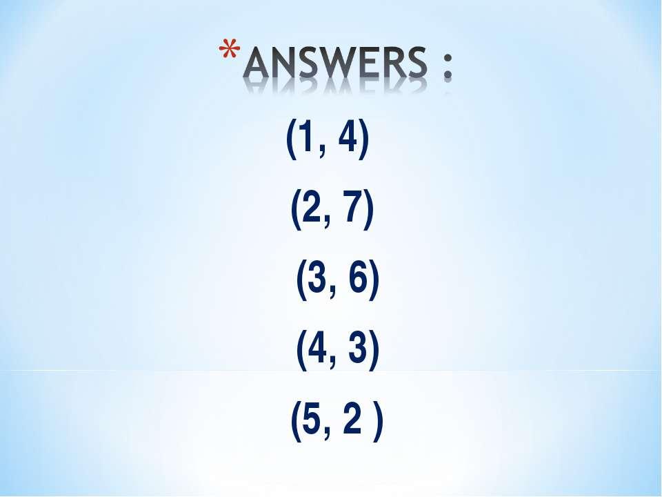 (1, 4) (2, 7) (3, 6) (4, 3) (5, 2 )