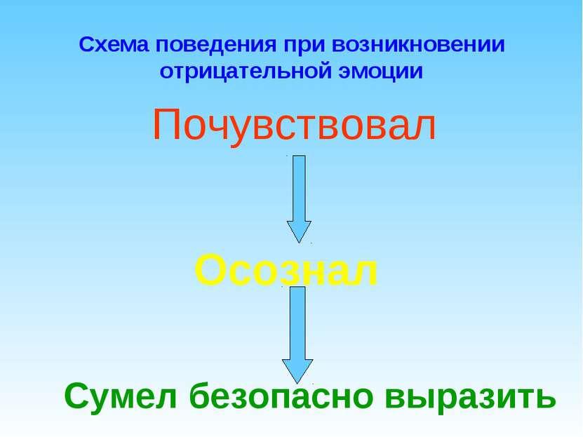 Схема поведения при возникновении отрицательной эмоции Осознал Сумел безопасн...