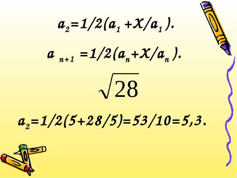 а2=1/2(а1 +Х/а1 ). а n+1 =1/2(аn+Х/аn ). а2=1/2(5+28/5)=53/10=5,3.
