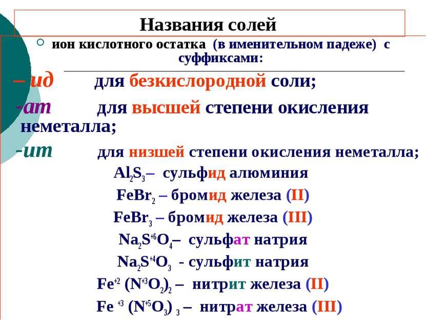 Названия солей ион кислотного остатка (в именительном падеже) с суффиксами: –...