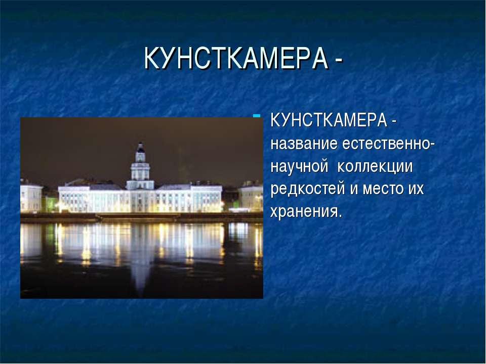 КУНСТКАМЕРА - КУНСТКАМЕРА - название естественно-научной коллекции редкостей ...